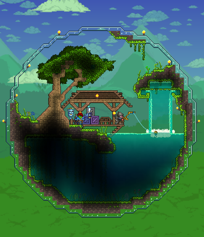 Thanks Fisherman Greg For Spicing Up My World With This Amazing Biosphere Terraria Sphere Terrarium Terraria House Ideas Terraria House Design