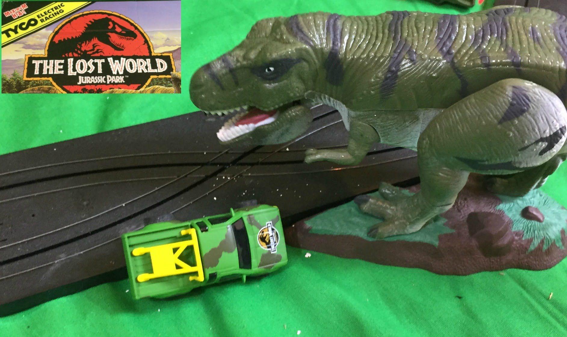 Tyco Jurassic Park Lost World Electric Slot Car Set T Rex Dinosaur Attack Slot Car Sets Jurassic Park Car