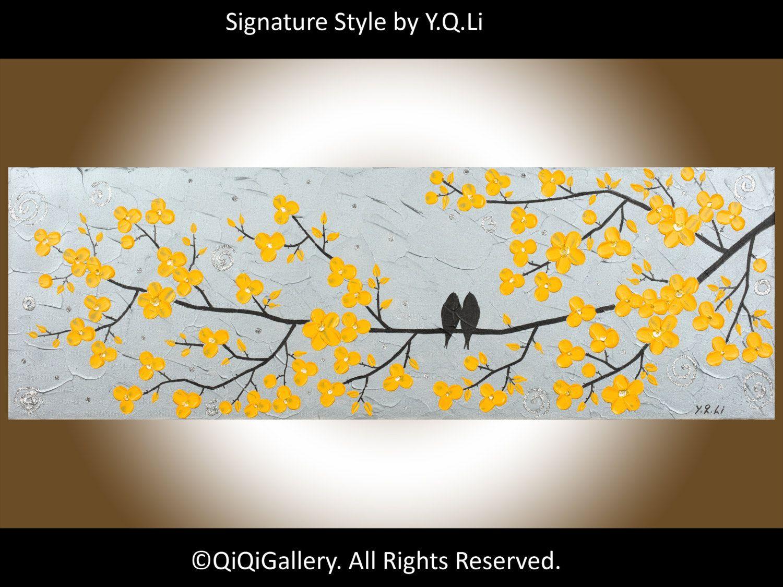 Original Acrylic Palette Knife Love Birds weeding gift Tree Flower ...