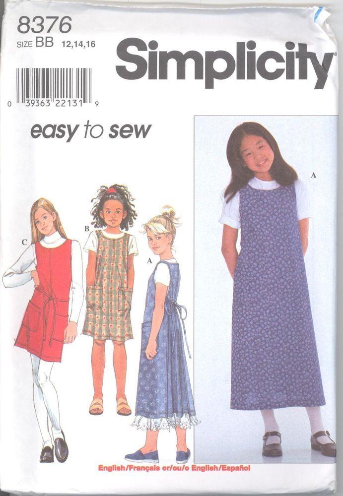 Simplicity 8376 Girls\' Wrap Around Apron Dress 12, 14, 16 Sewing Pattern
