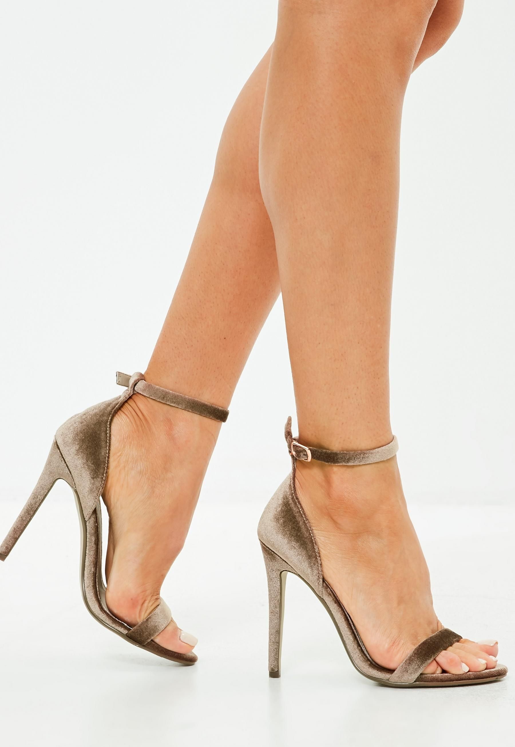 41b5a4ebc54 brown velvet two strap barely there heels
