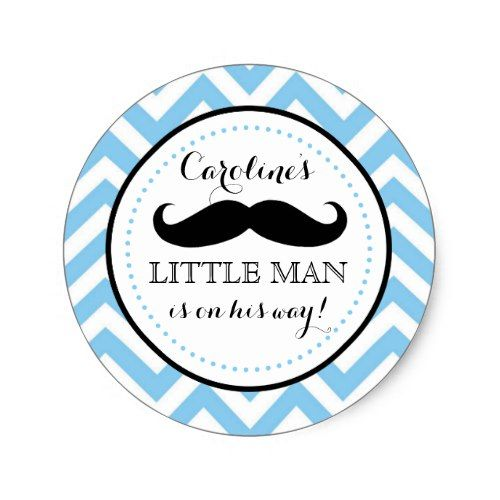 Little lil man mustache boy baby shower favor classic round sticker