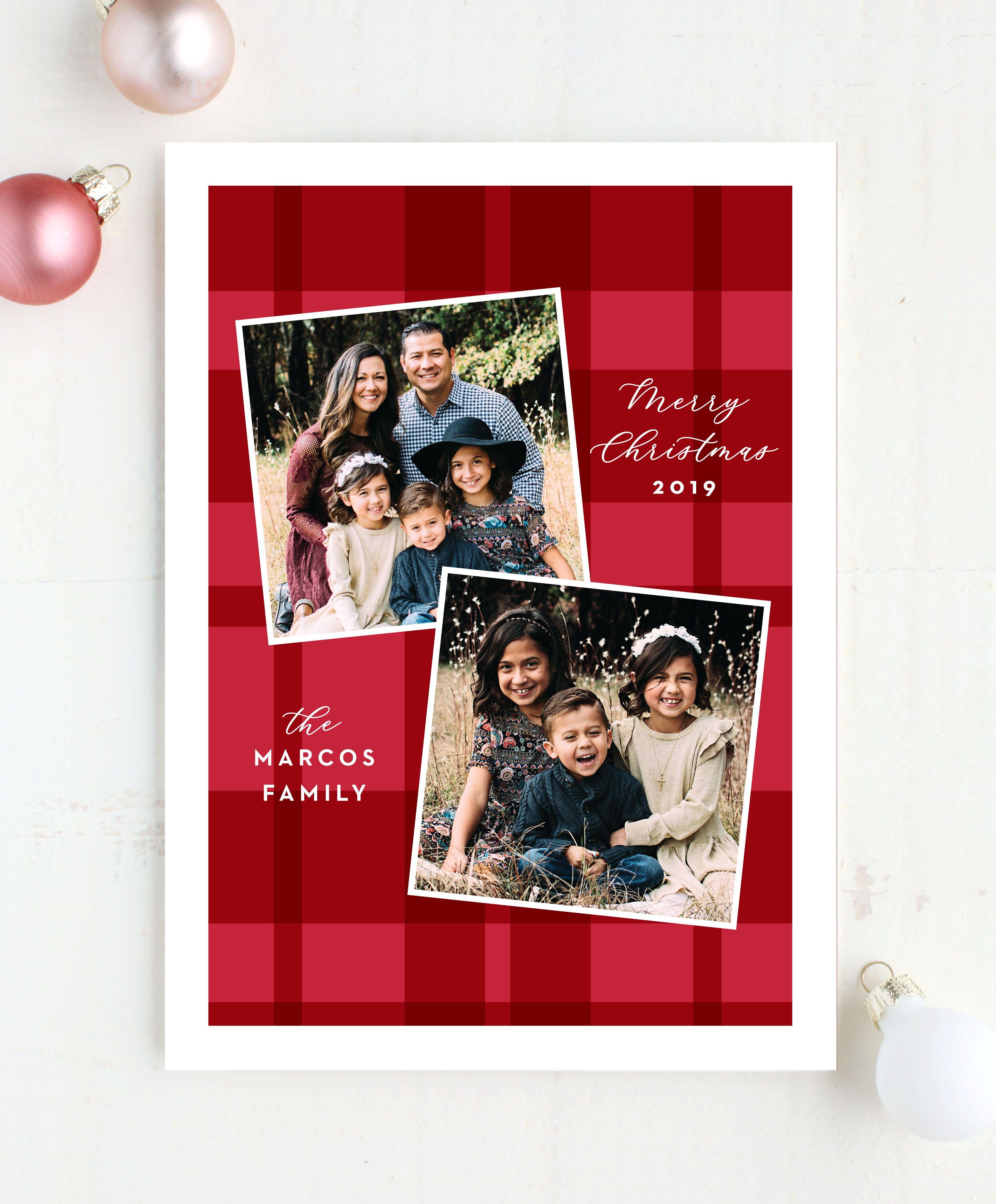 Plaid Polaroid Holiday Cards