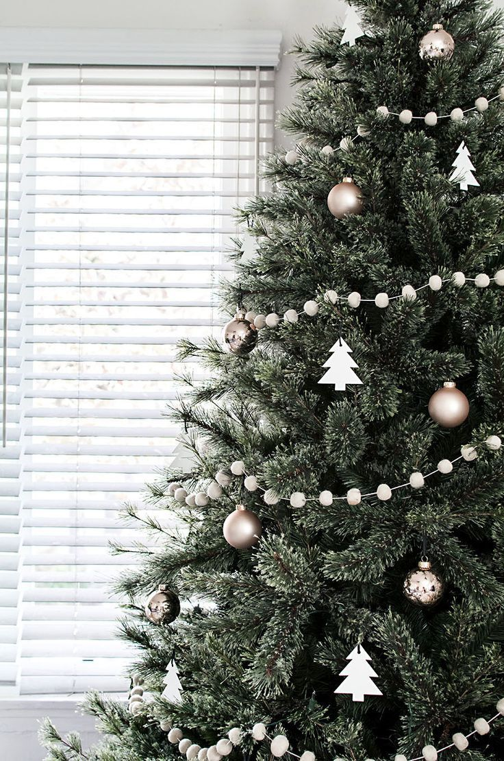 White christmas tree ball ornaments - Beautiful Christmas Trees Rose Gold And White Tree Ornaments Felt Wool Ball Garland