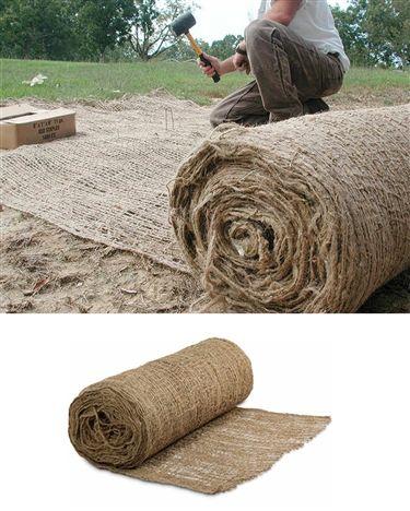 57 00 Per Roll Jute Mesh Blanket Saraglove Com Backyard Drainage Erosion Control Hillside Landscaping