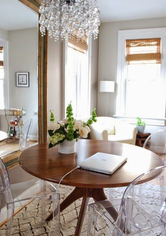 Lucite Chairs Wood Tables Pottery Barn Dining Room Modern