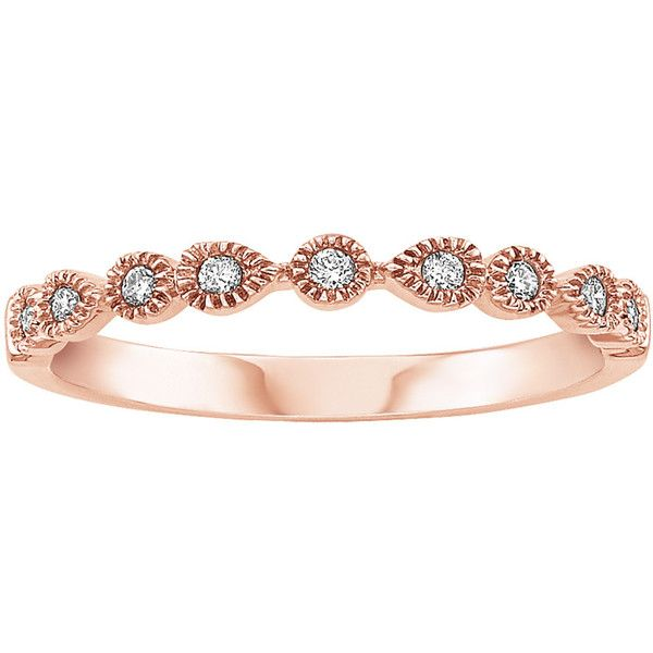 1/10 ct. tw. Diamond Anniversary Ring in 10K Rose Gold (810 PEN) ❤ liked on Polyvore featuring jewelry, rings, accessories, white, round diamond ring, rose gold rings, red gold ring, diamond anniversary rings and pink white gold ring