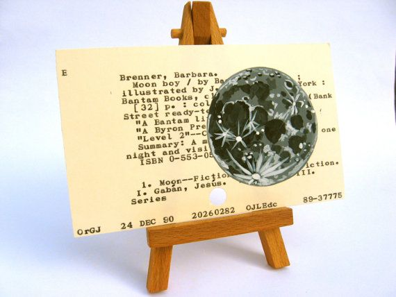 Library Card with Moon dewey decimal astronomy hand by WingedWorld