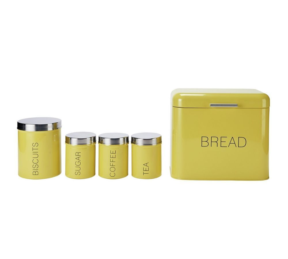 Yellow Kitchen Storage Set Biscuit Tin Tea Coffee Sugar Canisters