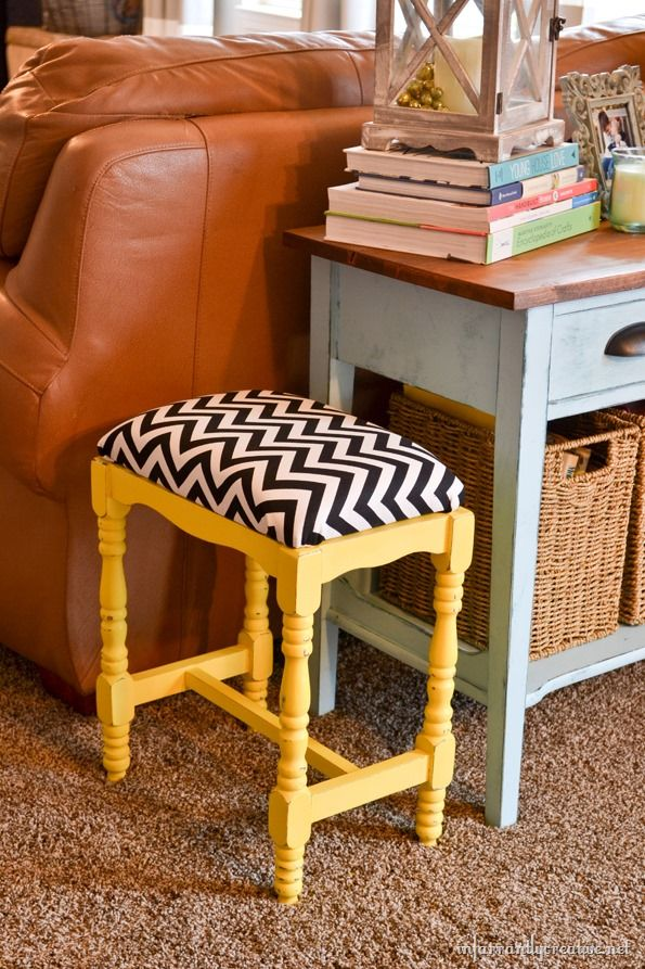I just can't get over chevron! I am in LOVE with this cute little bench- love the yellow too!