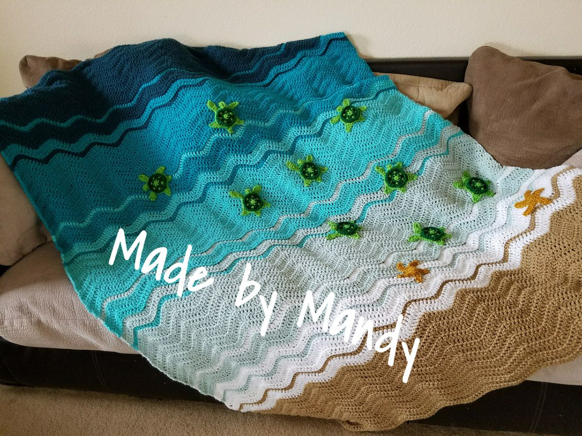 Free Amigurumi Sea Turtle Pattern : Baby sea turtle blanket throw free crochet pattern at made by
