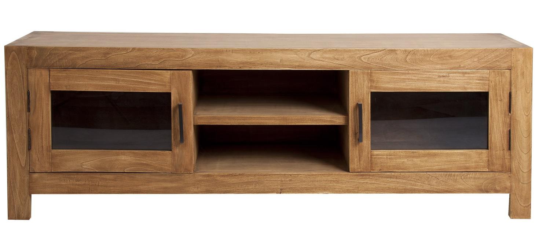 Mueble De Televisi N Colonial Con 2 Puertas Y 2 Huecos Centrales  # Muebles Moycor Baratos