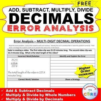 Free Decimals Word Problems  Error Analysis Worksheet Have Your