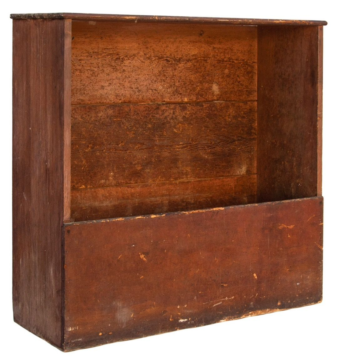 Willis Henry Shaker Auction 9/10/16 Lot 165. Estimate: $1,000 - 2,000. Realized: $600.  Desc:  Wood Box, Pine, original red/brown painted finish, single board construction, horizontal 3 board back, splined, iron hook on upper left interior, constructed with screws & forged nails, patina & wear appropriate to use, c. 1840, 52″ h, 55″ w, 18 1/2″ d, (ex. Brecht family collection).
