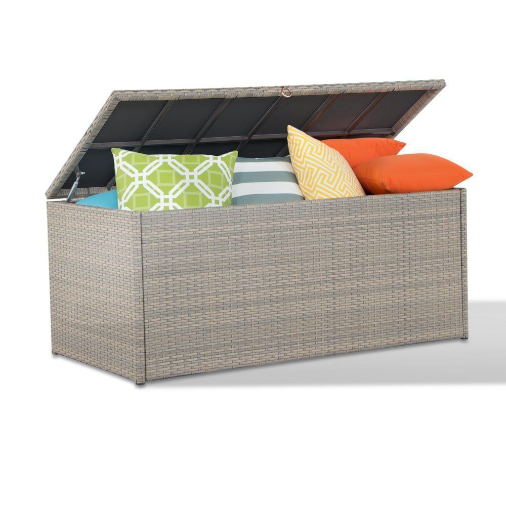 Amazon.com : Outdoor Storage Container Wicker Deck Box Patio Garden  Furniture With Waterproof Cover