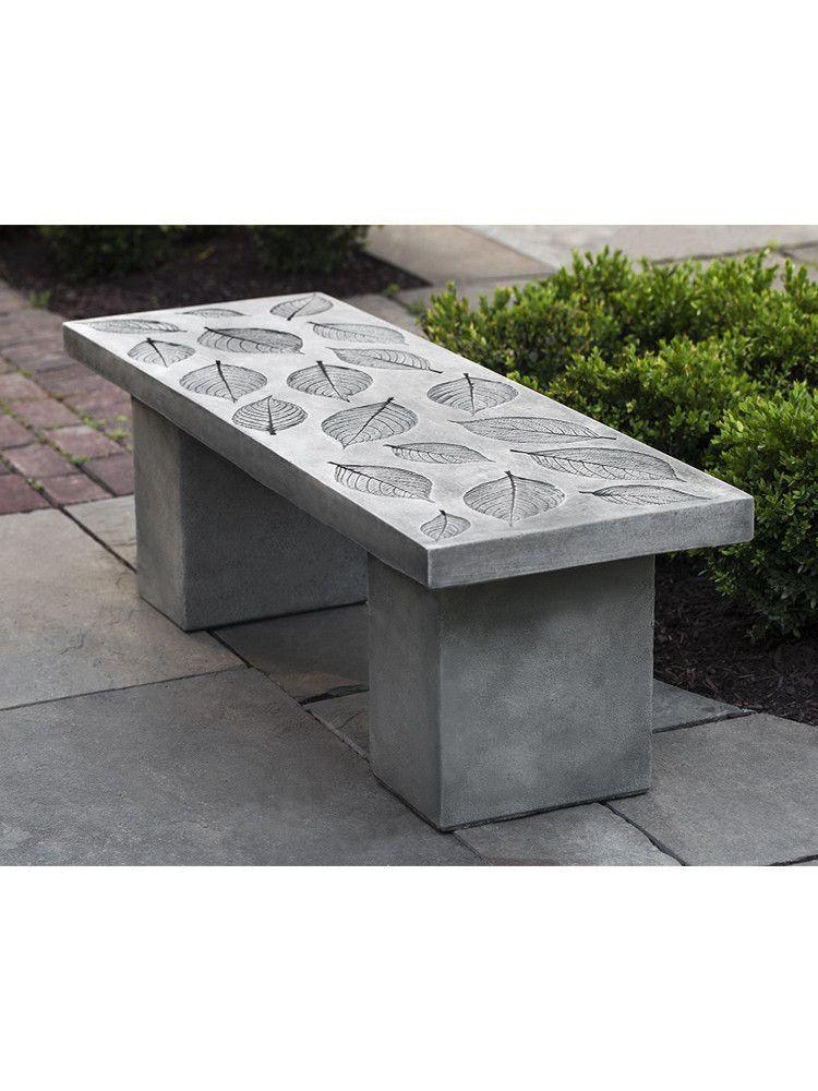 Hydrangea Leaf Cast Stone Outdoor Garden Bench Bench Cast
