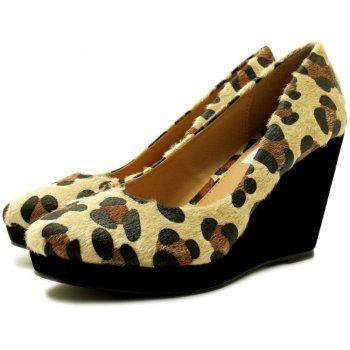 Kira Wedge Heel Platform Court Shoes - Black / Cheetah