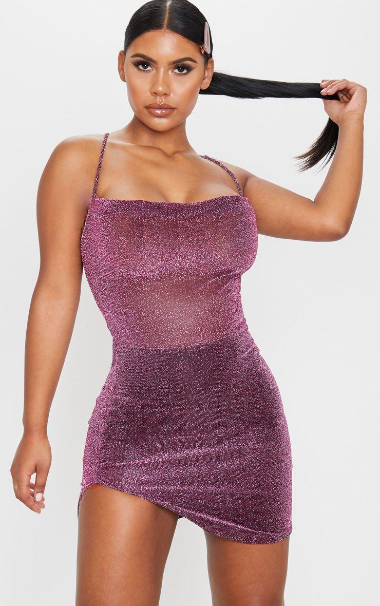 Purple Textured Glitter Strappy Cross Back Bodycon Dress Looks