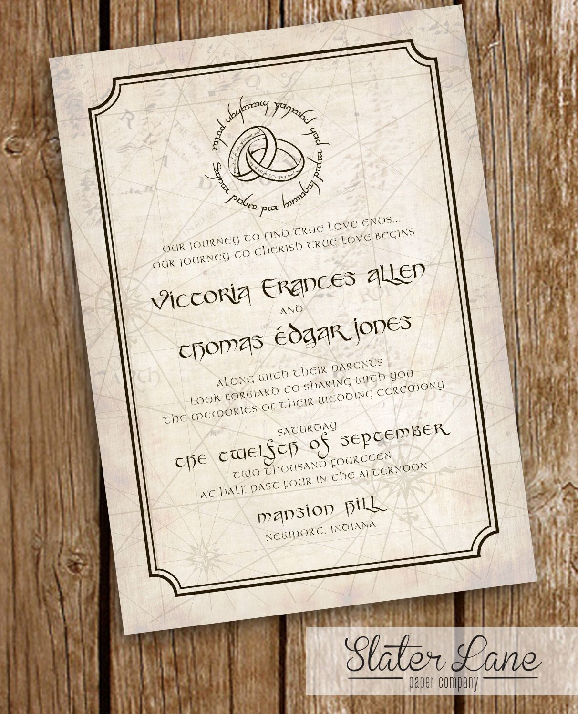 Lord Of The Rings Wedding Invitation Map Mordor Elvish Printable