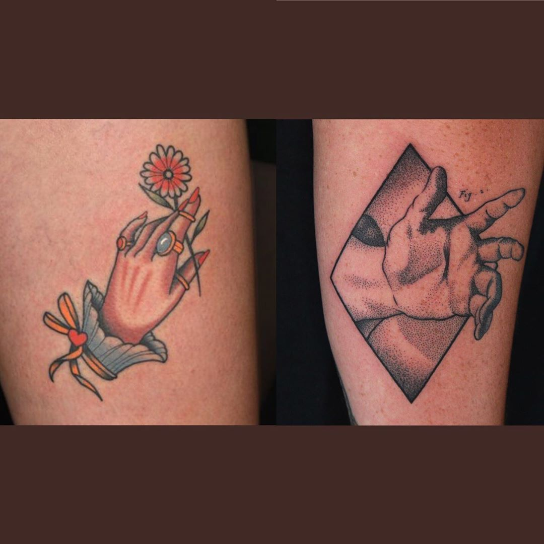 Here Are The Four Tattoos Done By And Their 90 Minute Task Was To Do Hands And Aaronis Fruittattoos Handtattoos Inkm In 2020 Hand Tattoos Ink Master Tattoos