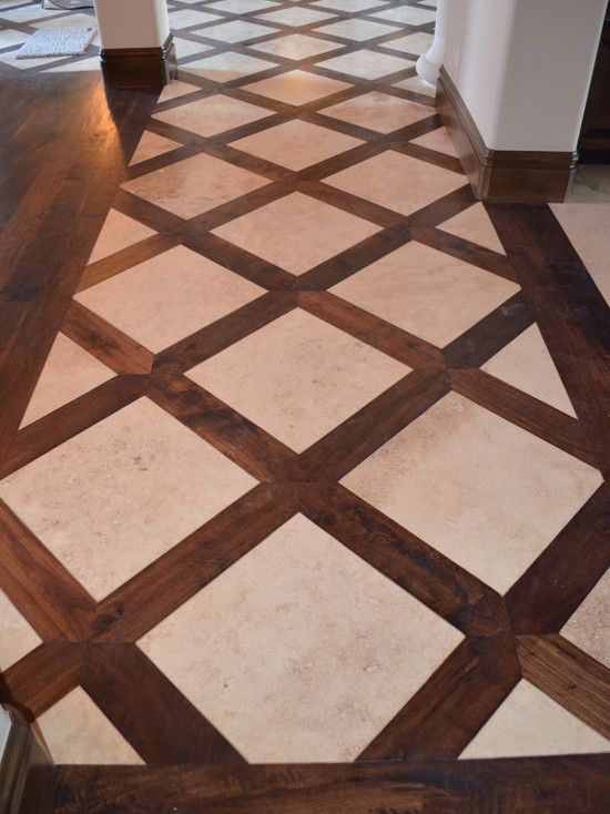 Basketweave tile and wood floor design pictures remodel for Decorative flooring ideas