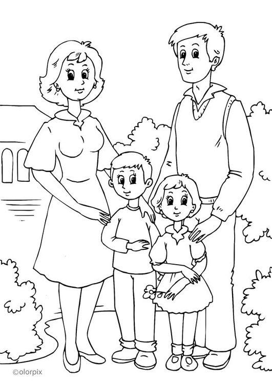 Dibujo para colorear 1. familia | SUD | Pinterest | Familia dibujos ...