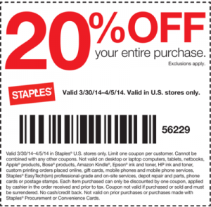 Staples Coupon Code 20 Off Accessed From Your Android Smartphone