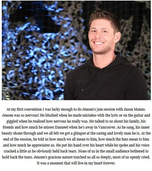 A fan's impression of Jensen during a convention panel. Just one more reason for me to love him