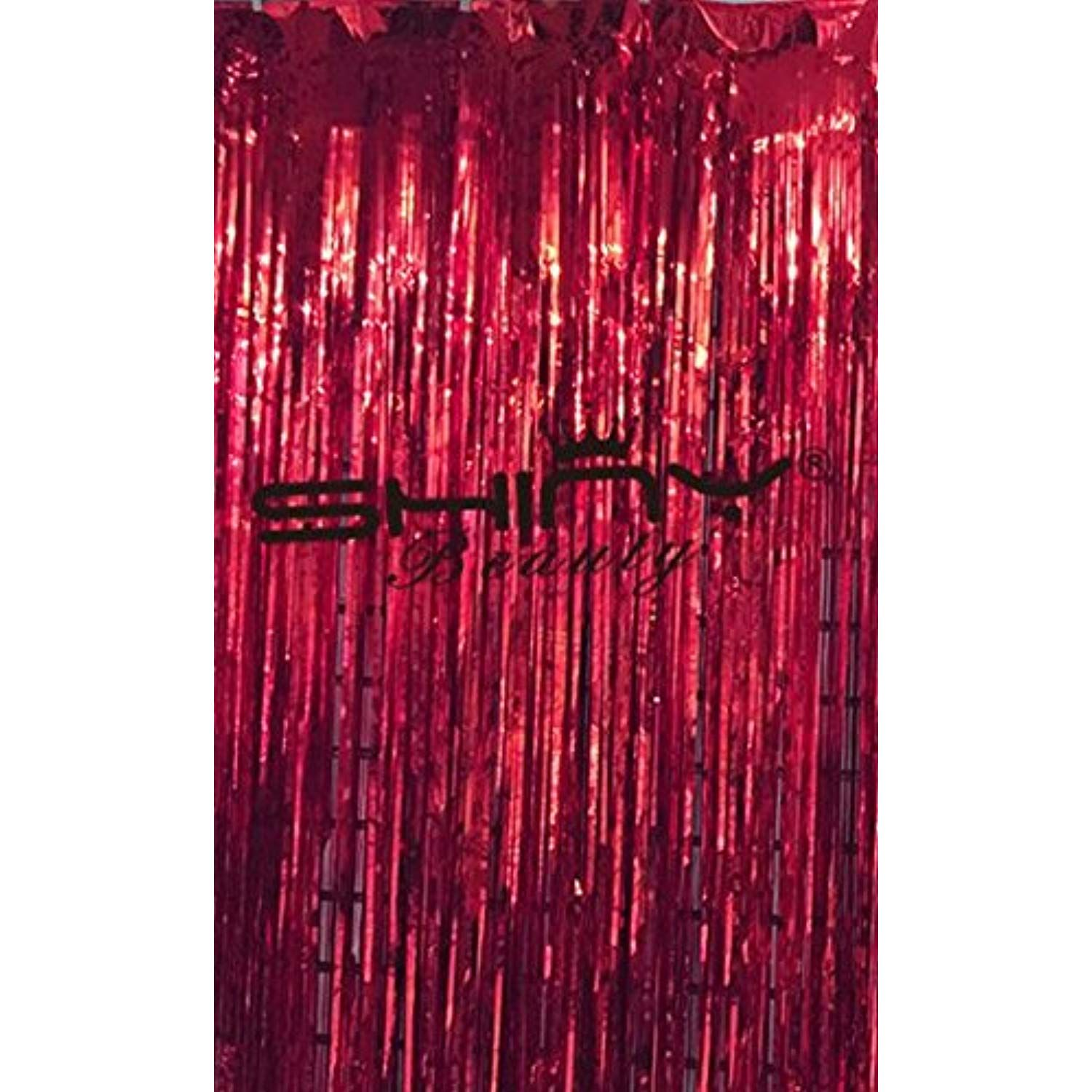 Shinybeauty Tinsel Foil Fringe Curtain 3ftx9ft Red Metallic Foil