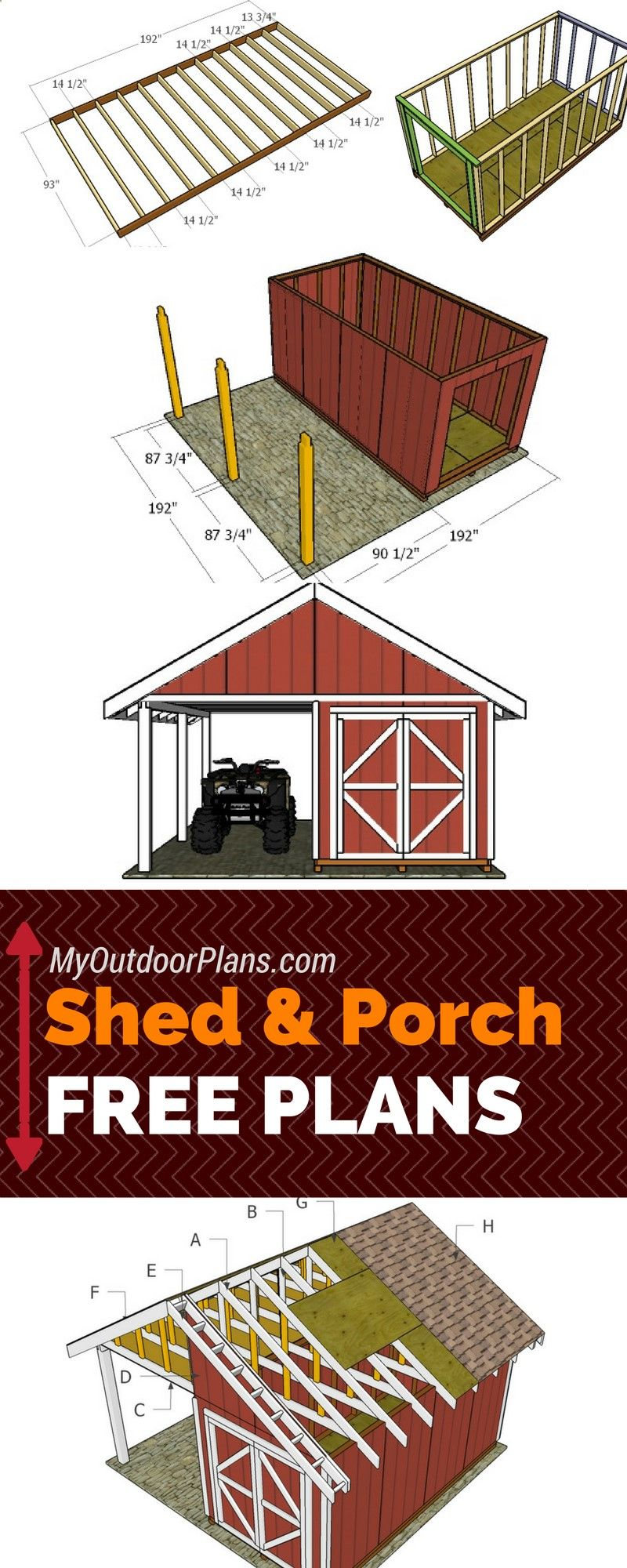 Shed Plans Free shed with porch plans Step by step