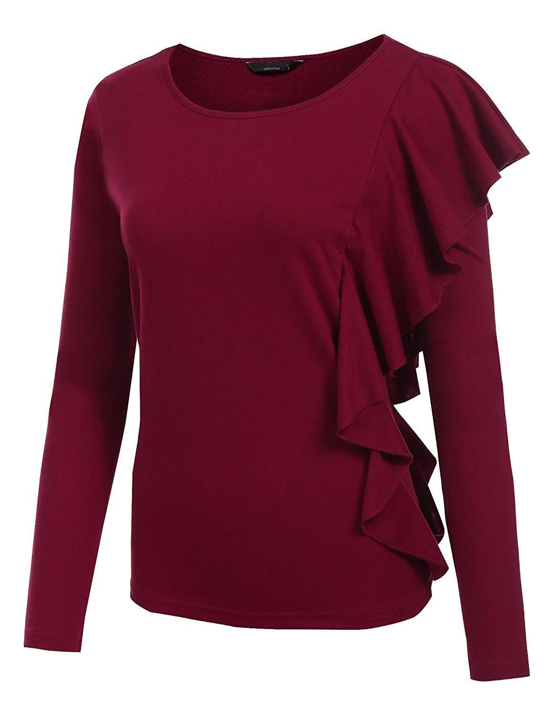 Women S Ruffles Peplum Long Sleeve Dressy Blouse T Shirt Tops Wine