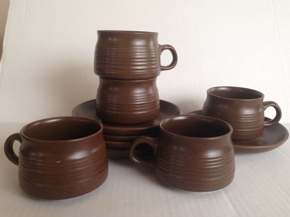 Denby Langley Pottery Mayflower 5 Cup u0026 Saucer Sets England Retro Vintage Ret. #DenbyLangley | Denby Dinnerware | Pinterest | China and eBay & Denby Langley Pottery Mayflower 5 Cup u0026 Saucer Sets England Retro ...