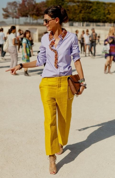 Street style mustard yellow pants and button down. via