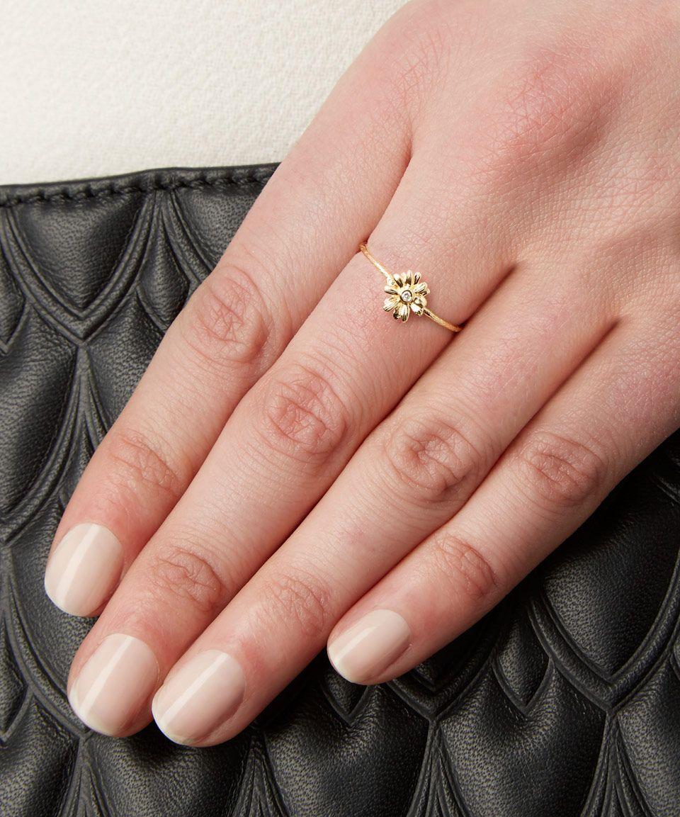 Alex Monroe 18ct Gold Diamond Teeny Tiny Daisy Ring   Goldcrest Fine ...