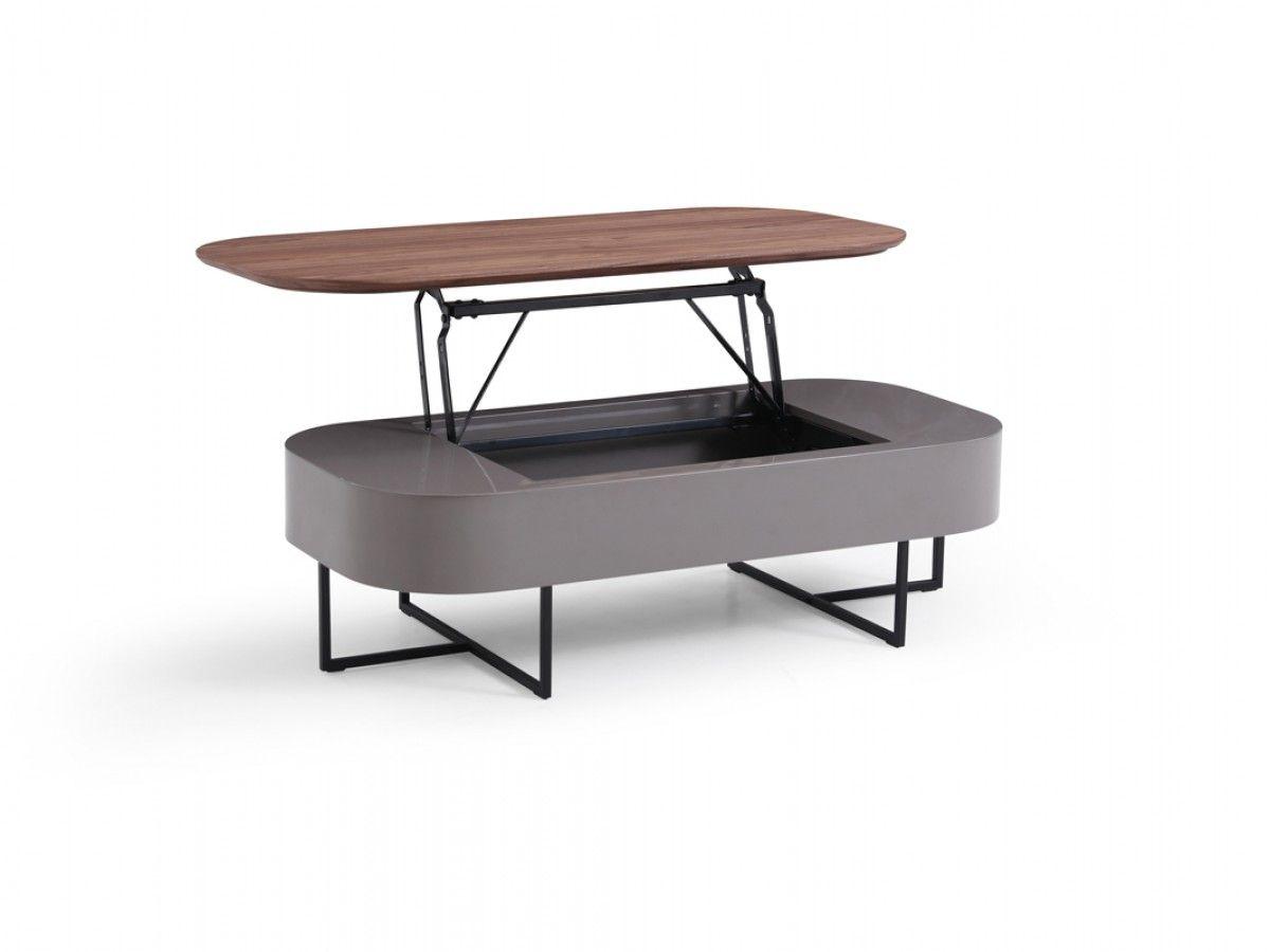 Modrest Reid Modern Walnut Grey Coffee Table Coffee Tables