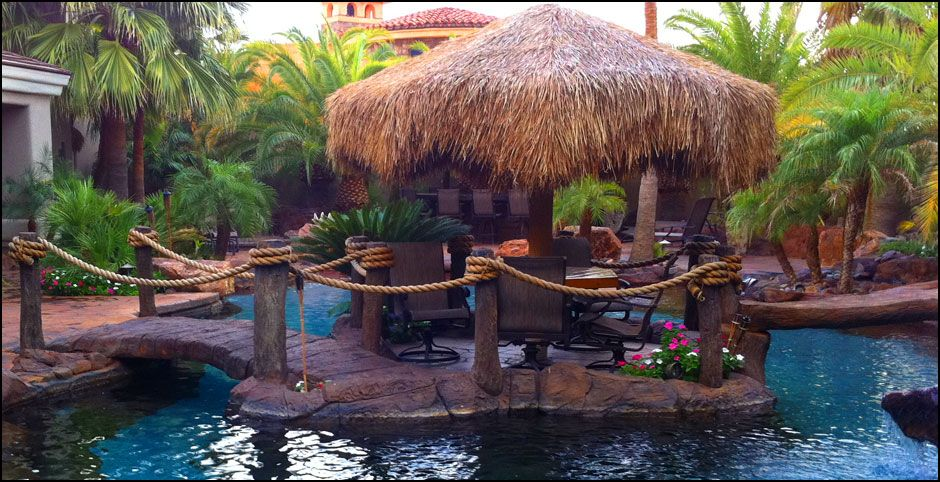 Outdoor Tiki Bar Plans Tropical Pools And Design Lake Havasu - Backyard tiki bar ideas