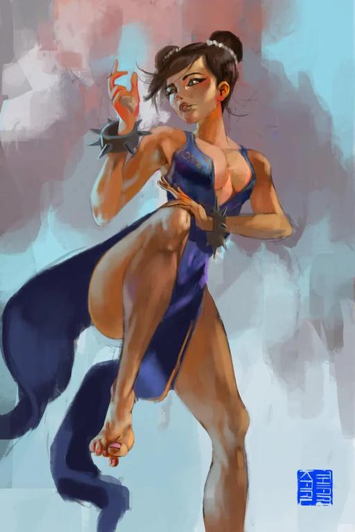 I Painted Chun Li I M Pretty Happy With This One Streetfighter Chun Li Fan Art Street Fighter