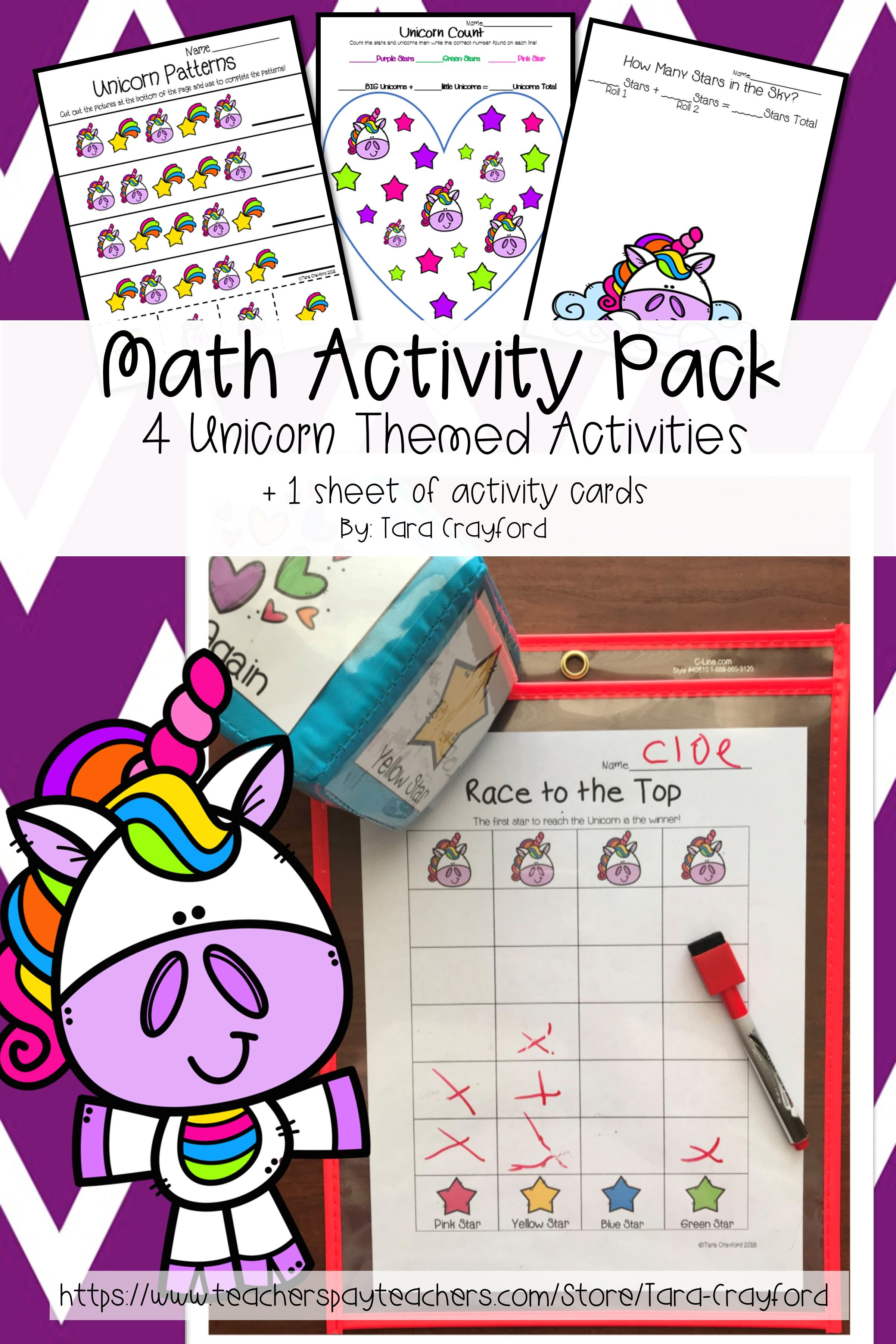 Preschool Math Activities Unicorn Pack