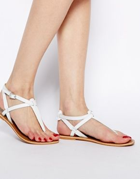787346654 New Look White Gracie Leather Toe Post Flat Sandals