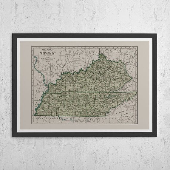 KENTUCKY VINTAGE MAP - Vintage Map of Tennessee - Old Map Print ...