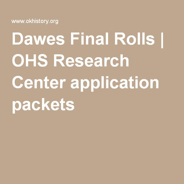Dawes Final Rolls | OHS Research Center application packets