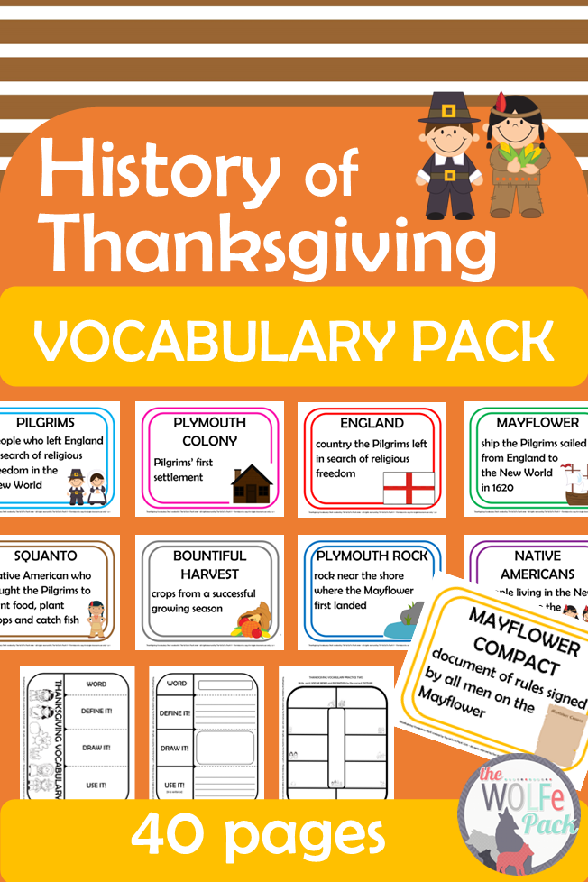 History Of Thanksgiving Vocabulary Pack In 2020 Thanksgiving Vocabulary Thanksgiving History Vocabulary