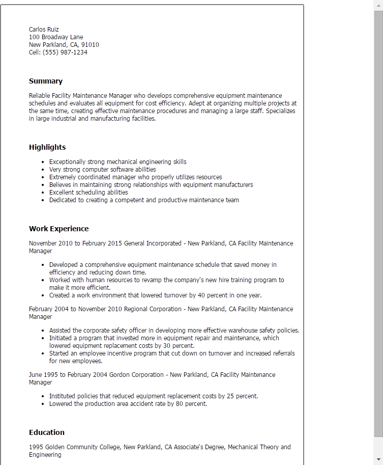 Resume Templates Facility Maintenance Manager Resumes