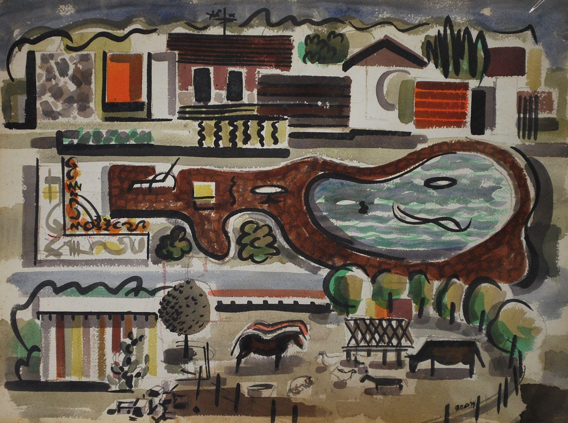 Watercolor art history - Michael Frary Lawndale San Antonio 1955 1956 Watercolor On