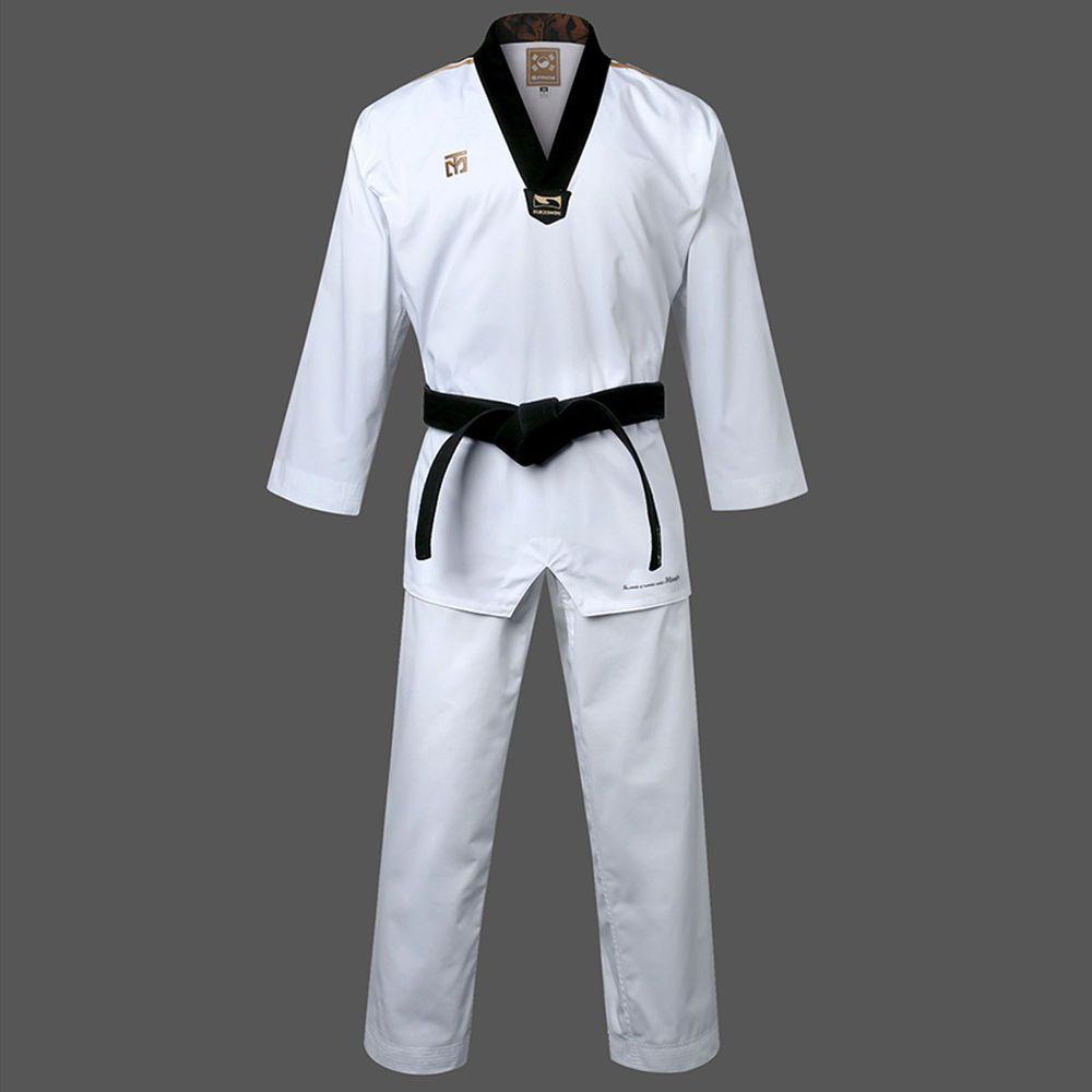 Taekwondo Summer Uniform Blue Stripe Pockets Mooto TKD Suits Doboks Short Sleeve