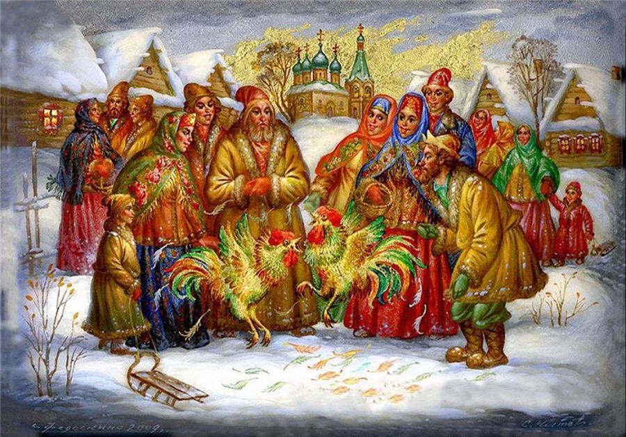 Бокал вина, открытки славянский новый год