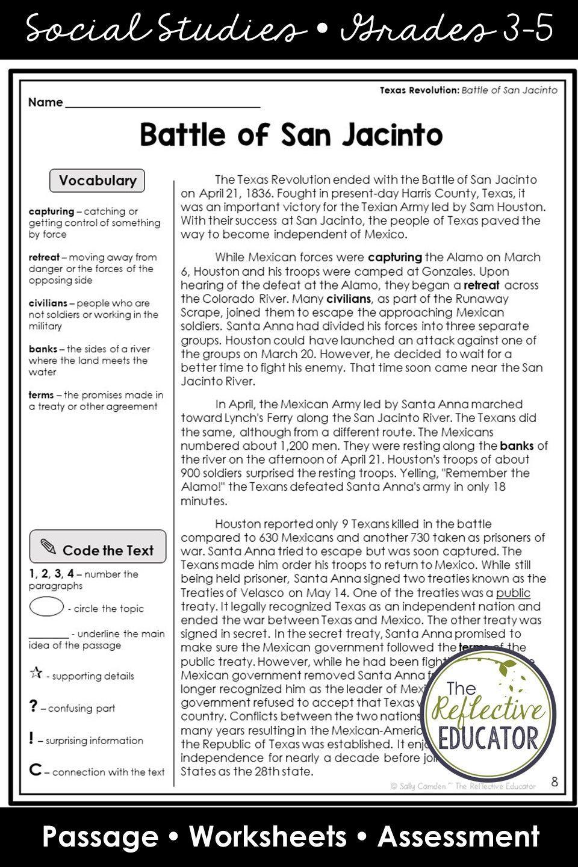 Battle Of San Jacinto Texas Revolution Elementary Social Studies Lessons Social Studies Worksheets Distance Learning