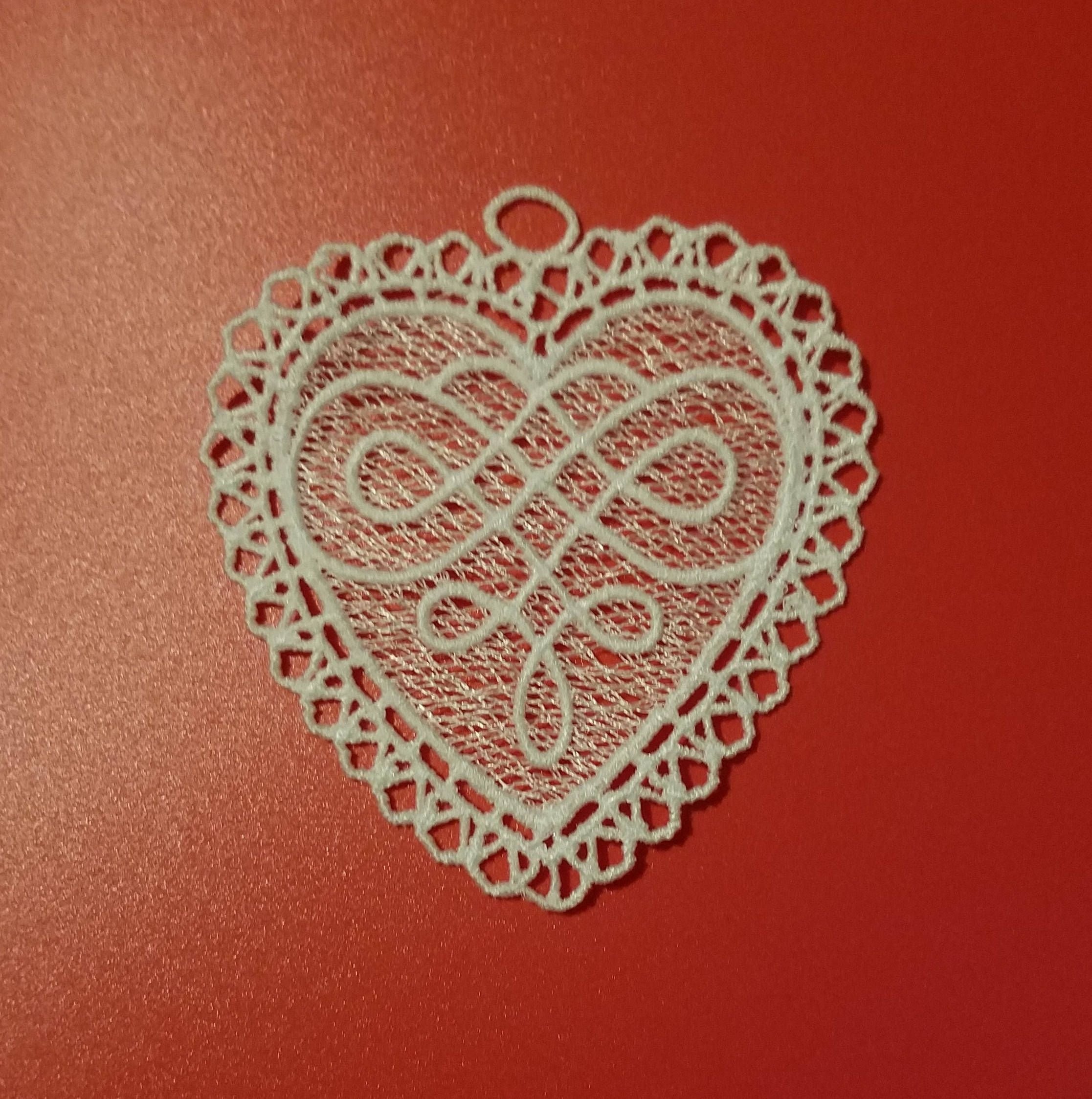 Embroidered Free Standing Lace Heart Ornament Lace Ornament