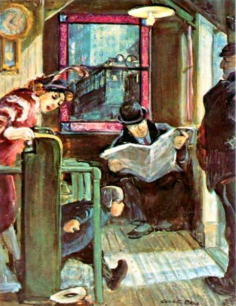 "Reading and Art: Cecil Crosley Bell (born 1906 in Seattle -died 1970) ""El station turnstile"""