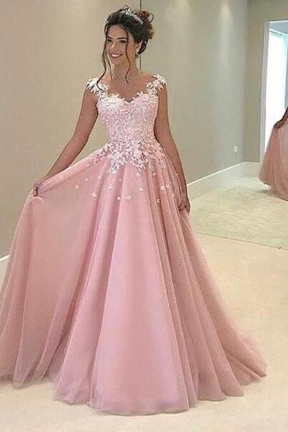 Beautiful Lace Top Pink Tulle Prom Dress With Straps Ball Gowns